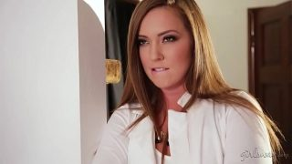 Maddie O'Reilly and Cadence Lux as hostess and squirting cleaning lady